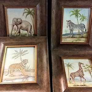 Set of all 4 framed wall art pieces (Jungle)